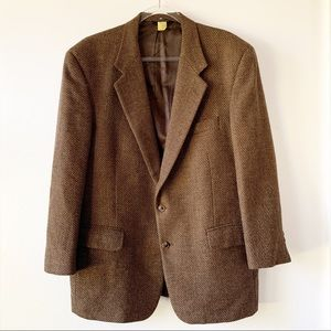 Vintage Burberry Brown Tweed Blazer 44 or 46 Short